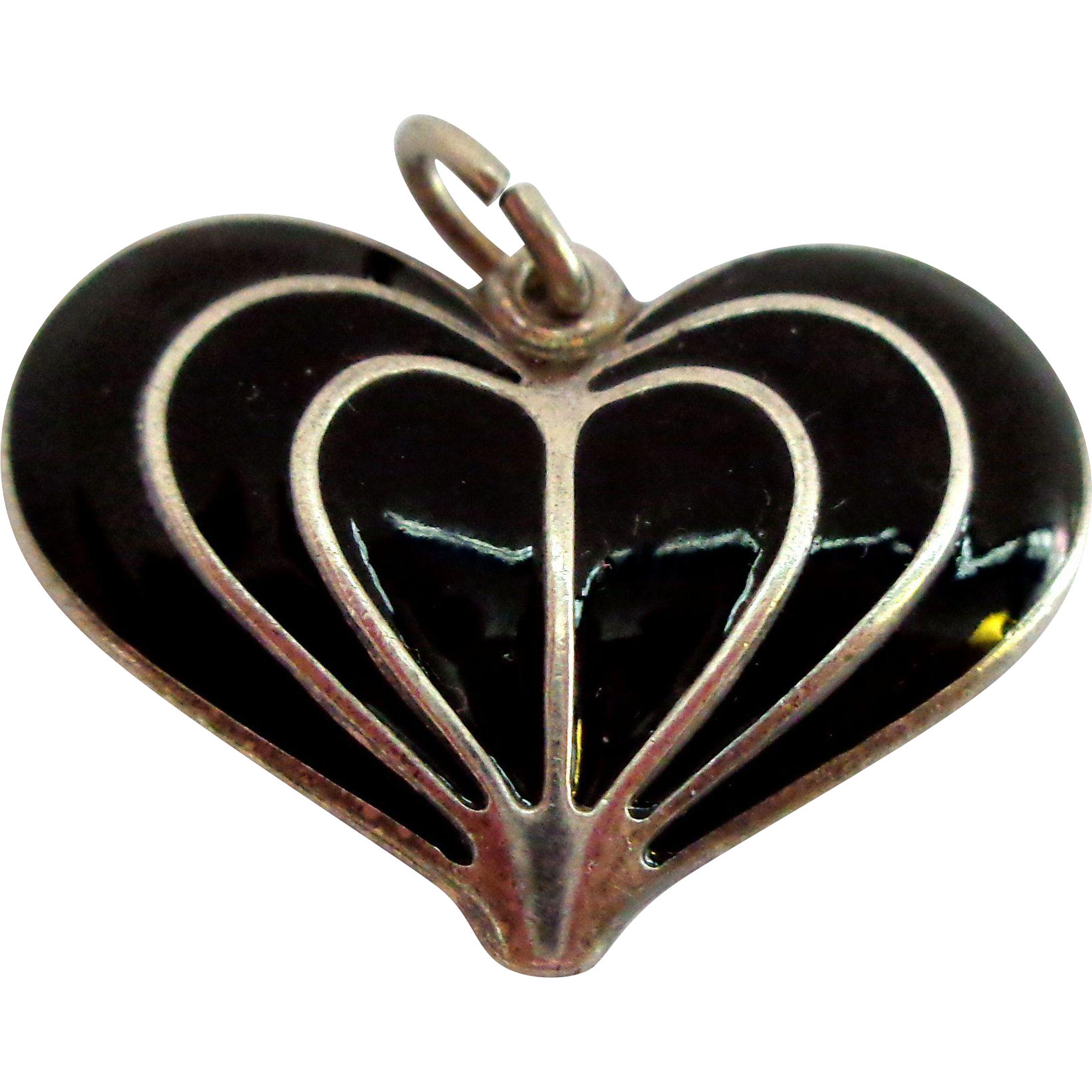 David Andersen Norway Enamel on Sterling Silver Heart Pendant
