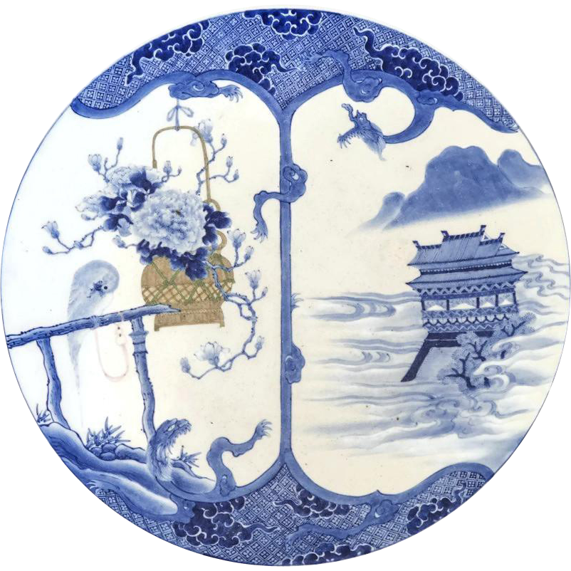 """Massive 18 1/4"""" Antique Chinese Signed Charger with Parrot in Blue and White"""