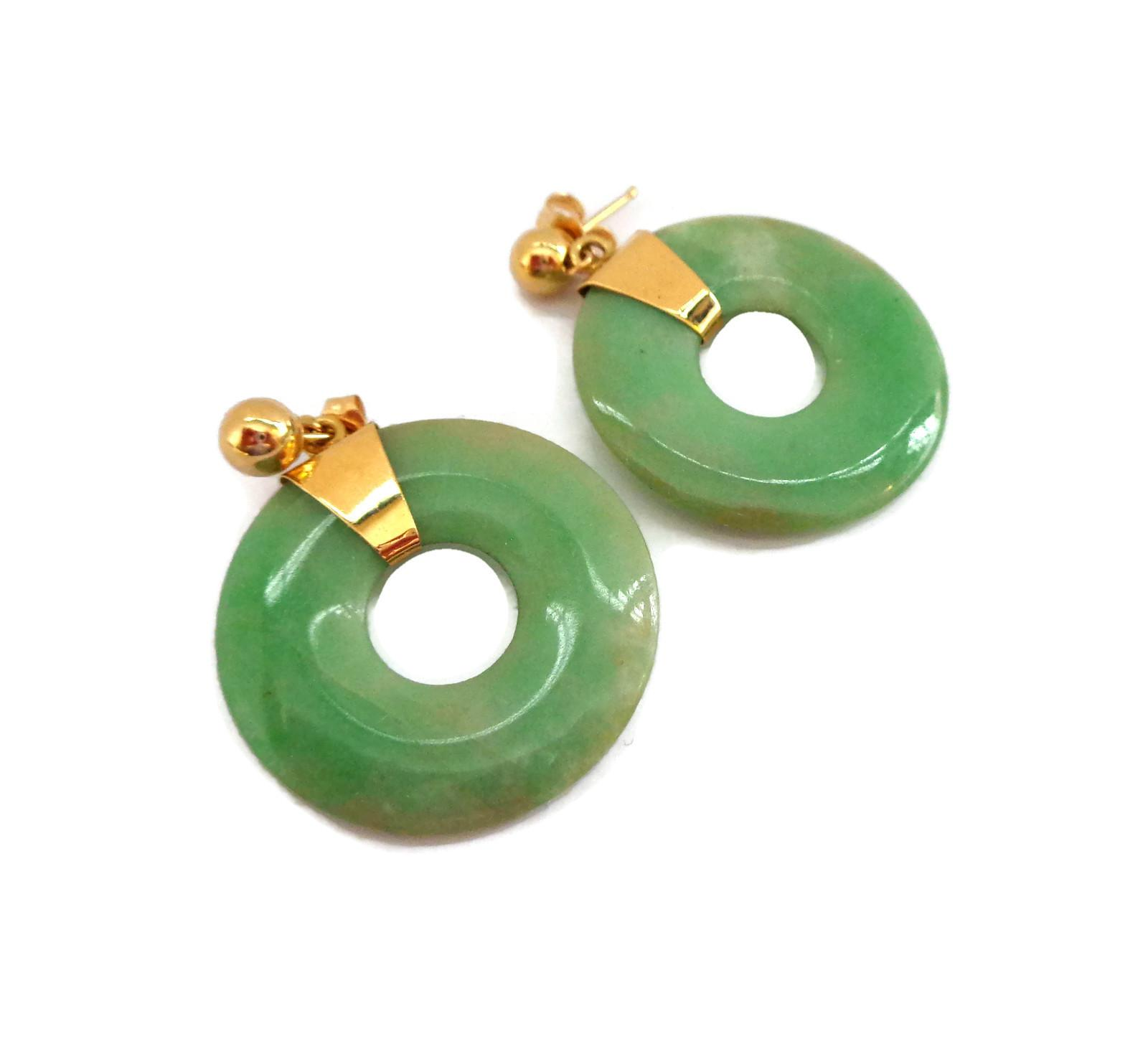 14K and Jade Earrings
