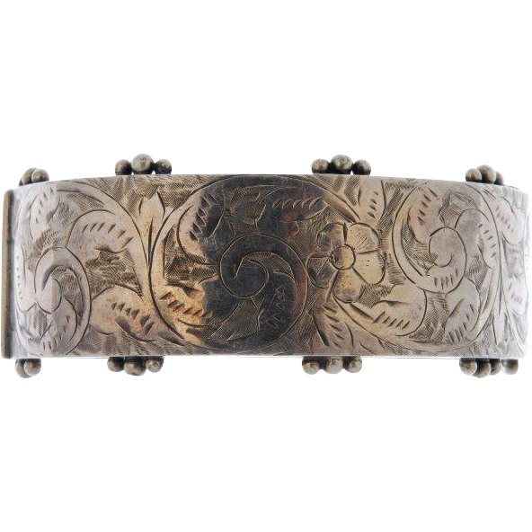 Antique 1905 Sterling Silver Classic Cuff Bracelet