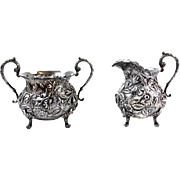 Allover Repousee Antique Stieff Creamer and Sugar Set