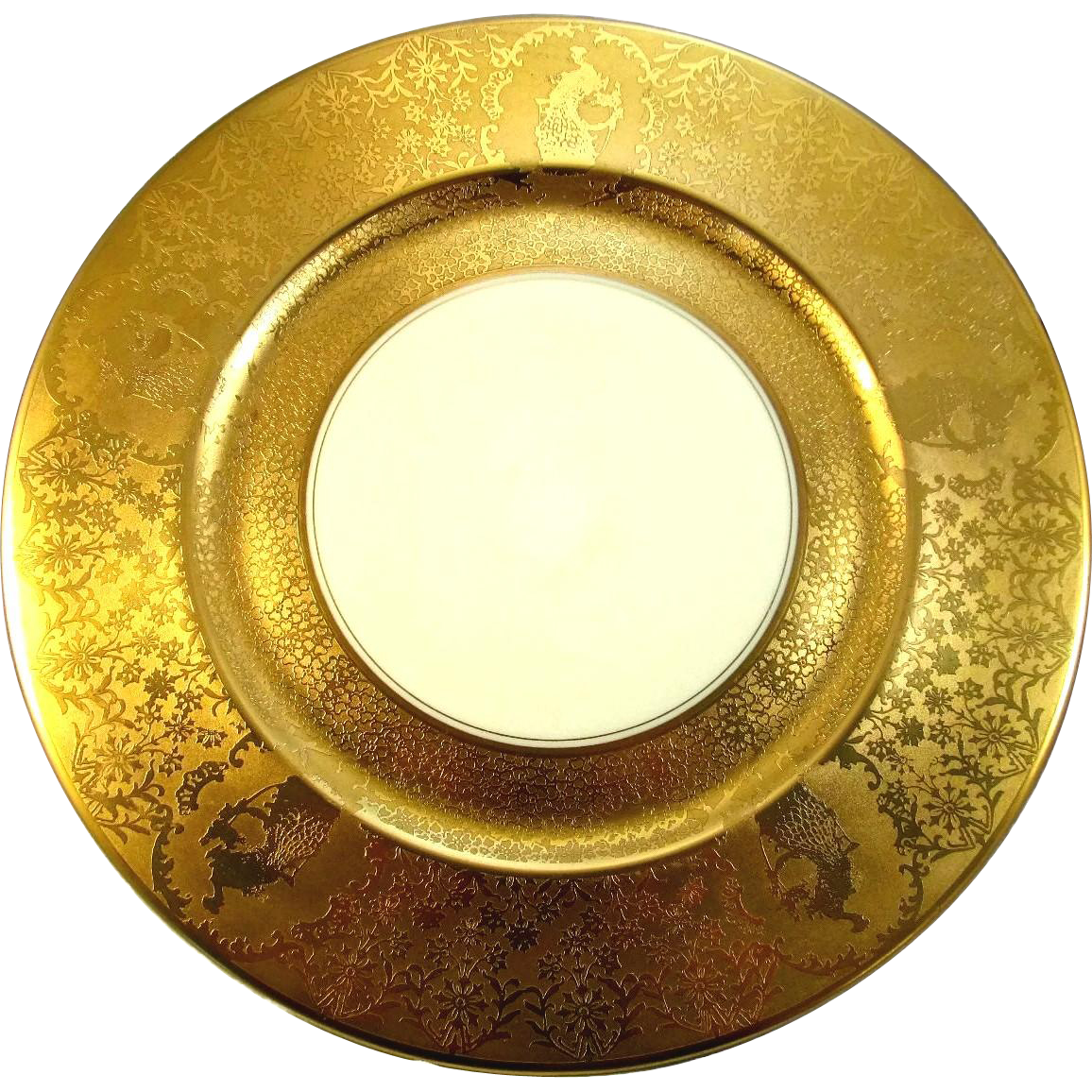 "8 Eight Gold Encrusted 10 3/4"" Charger Plates with Peacocks"
