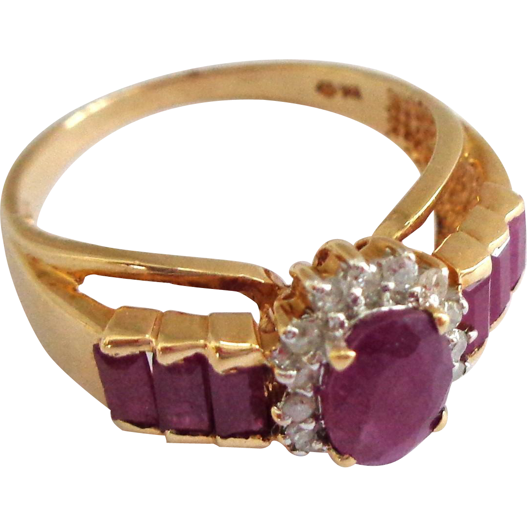 10K Gold Ruby and Diamond Ring Sz 8