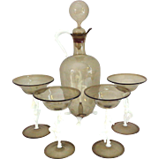 Figural 6 PC Bimini Austrian Glass Decanter Set Nude Women