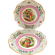 Pair of RARE Schumann Pierced Plates with Romantic Scenes