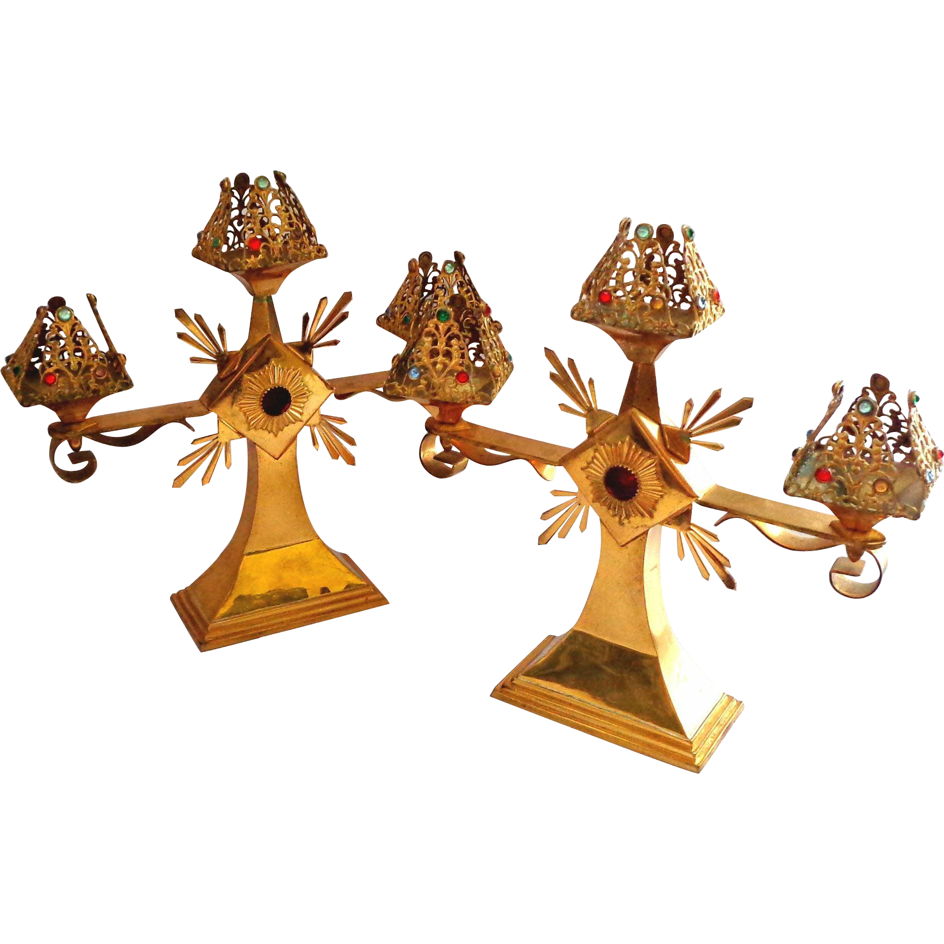 Pair of Ecclesiastical Jeweled Gilt Brass Candelabra