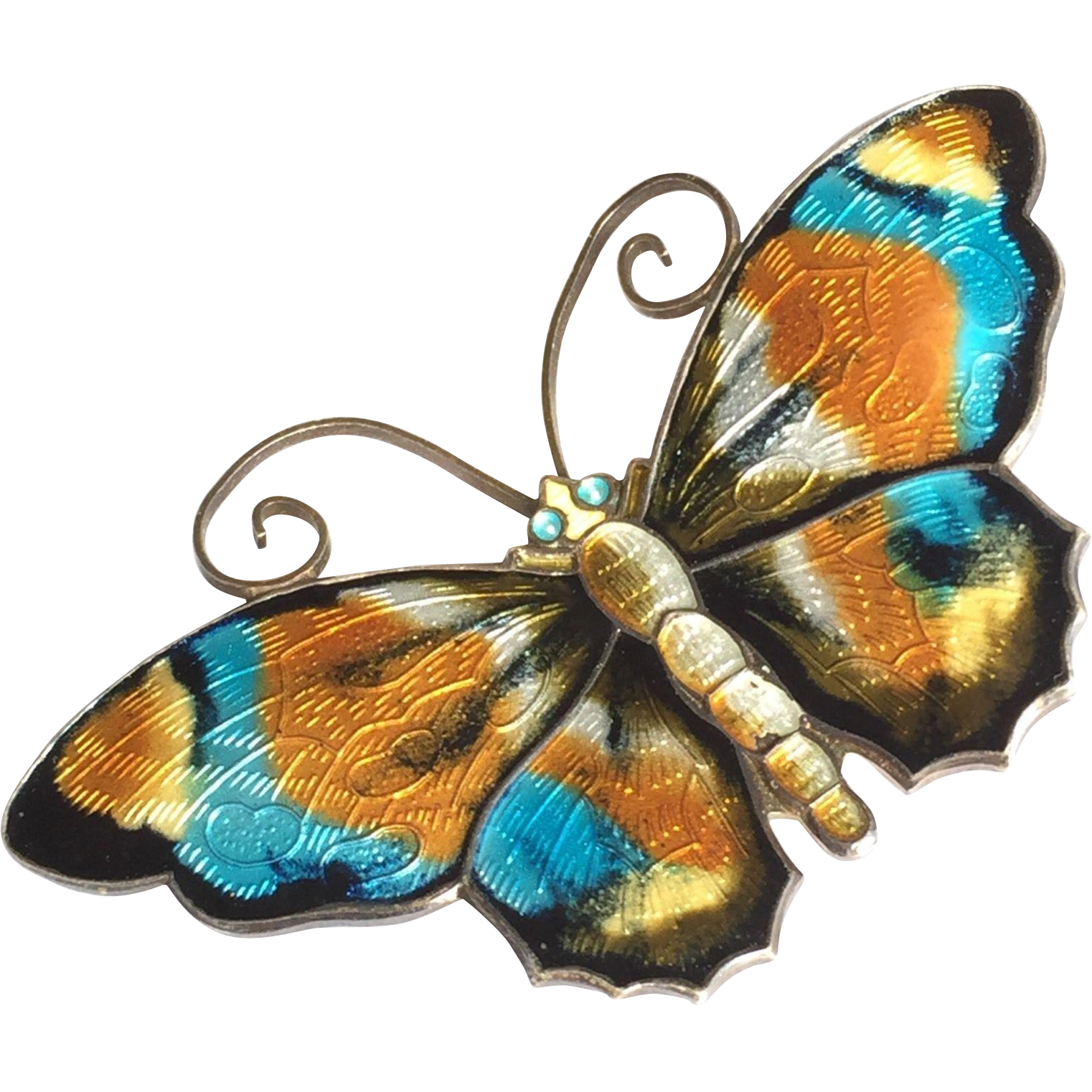 David Andersen Norway Large Multi-color Sterling and Enamel Butterfly Pin