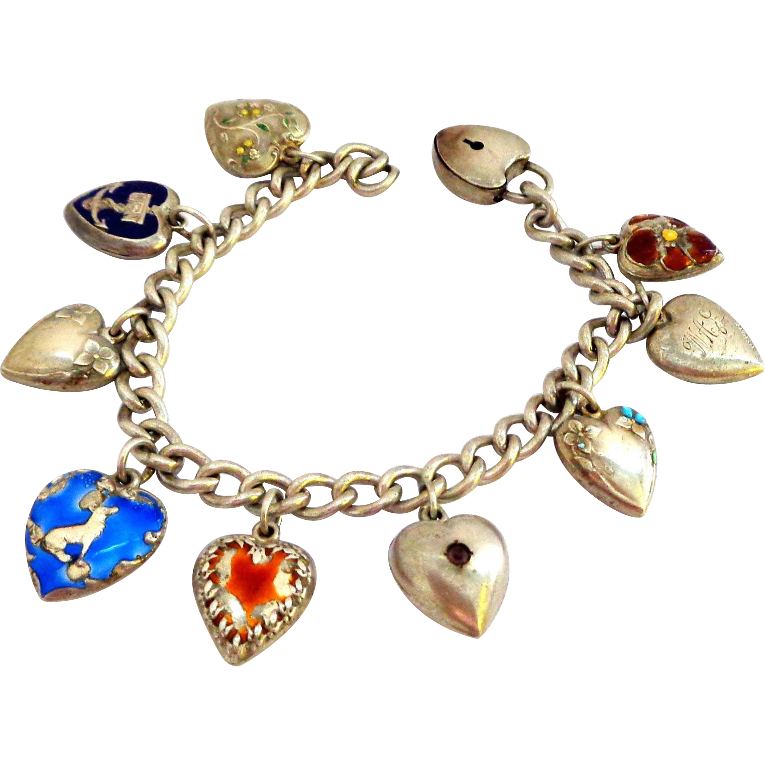 Fabulous Puffy Heart Enamel Sterling Sweetheart Bracelet with Padlock Clasp - Be My Valentine?