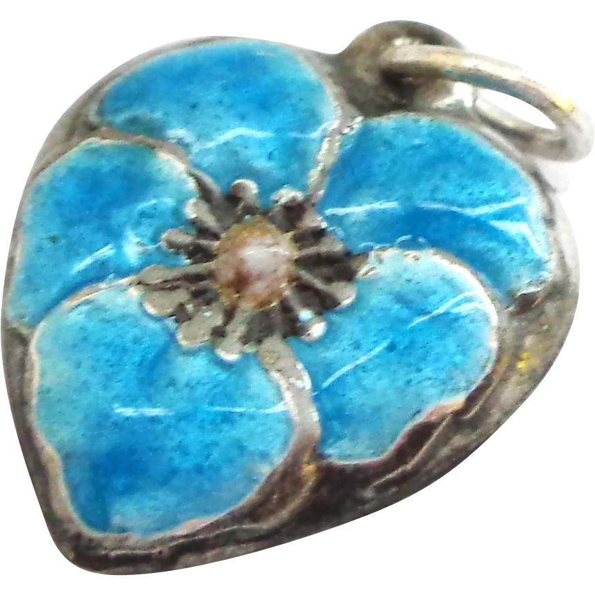 Enamel and Sterling Pansy Puffy Heart Charm