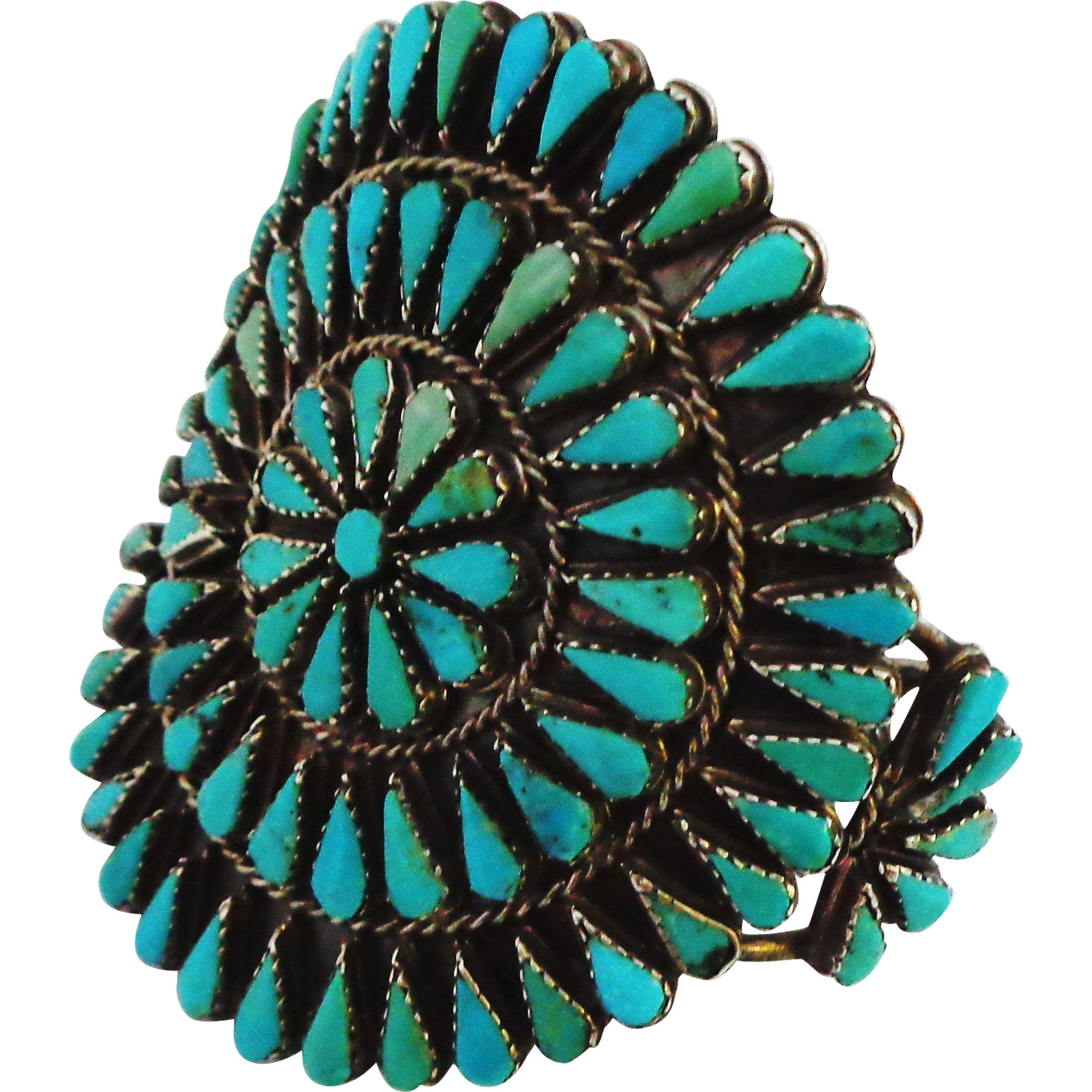 Native American Large Turquoise Zuni Sterling Silver Cuff Bracelet - 55gm