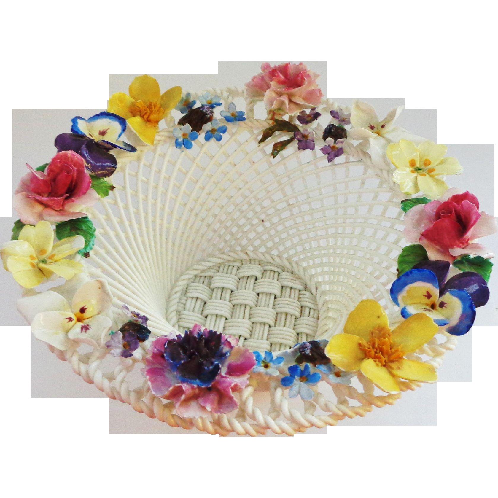 Crown Staffordshire England Applied Flower Bowl