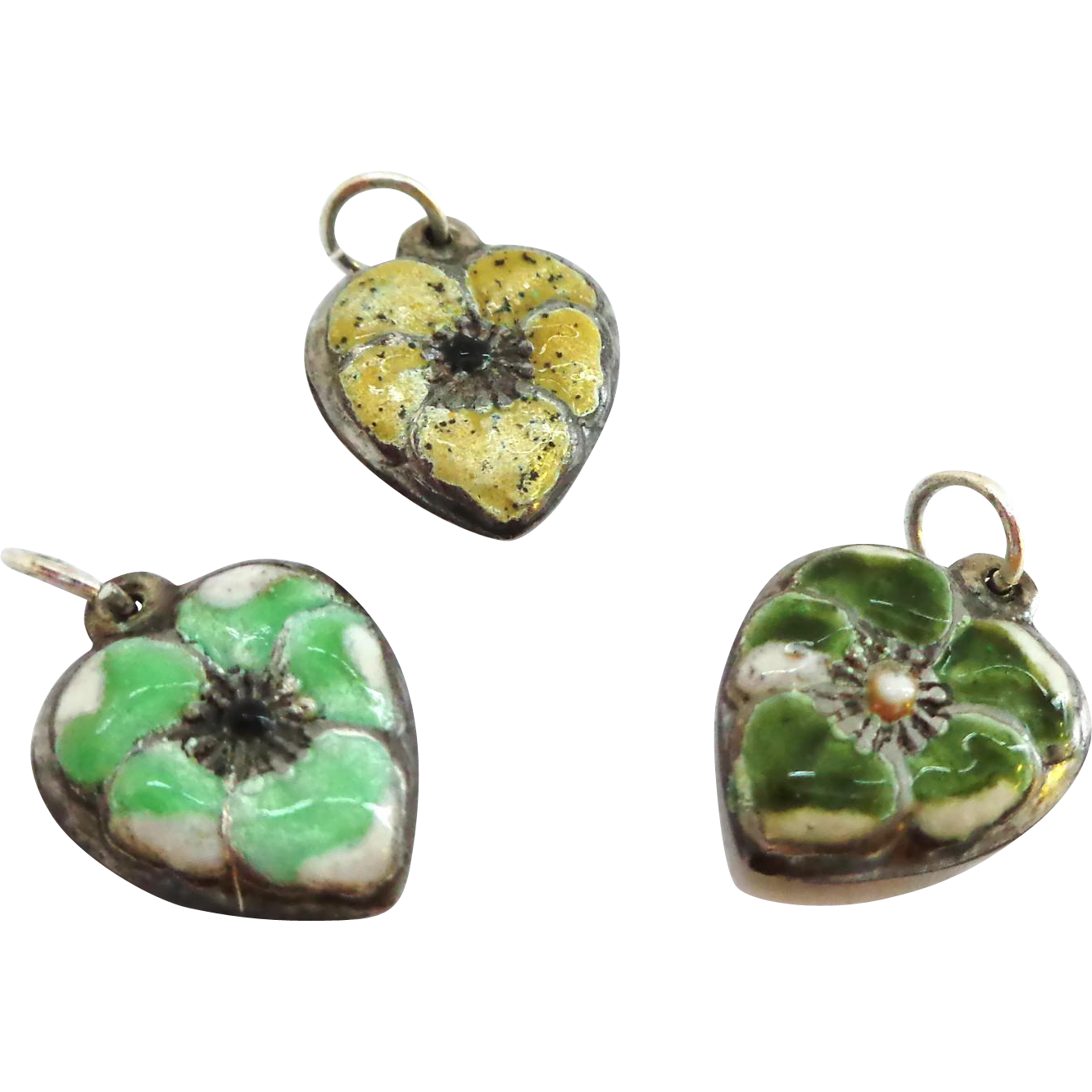 Group of 3 Puffy Heart Pansy Charms Enamel on Sterling Silver