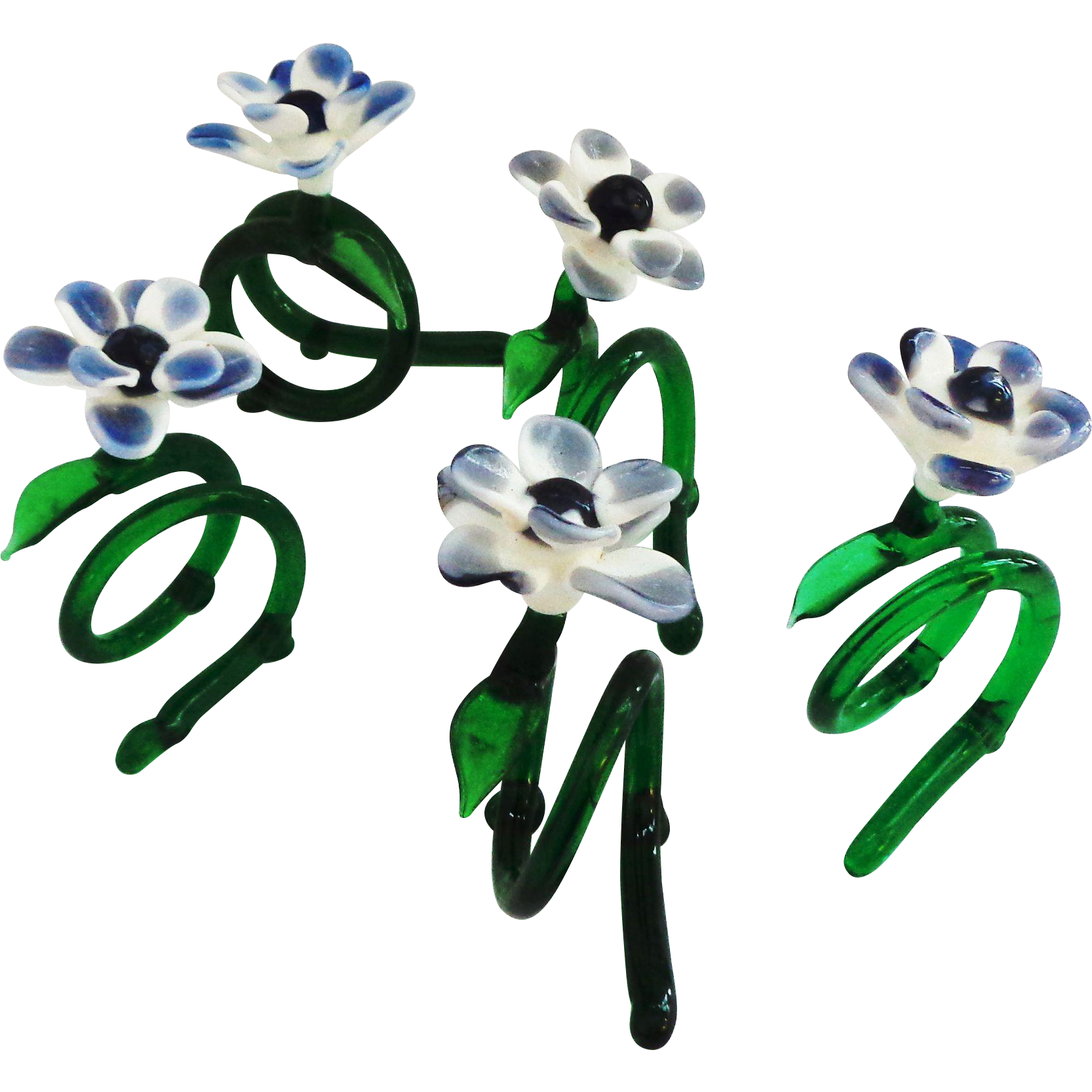 Group of 5 Hand Blown Glass Figural Floral Napkin Holders