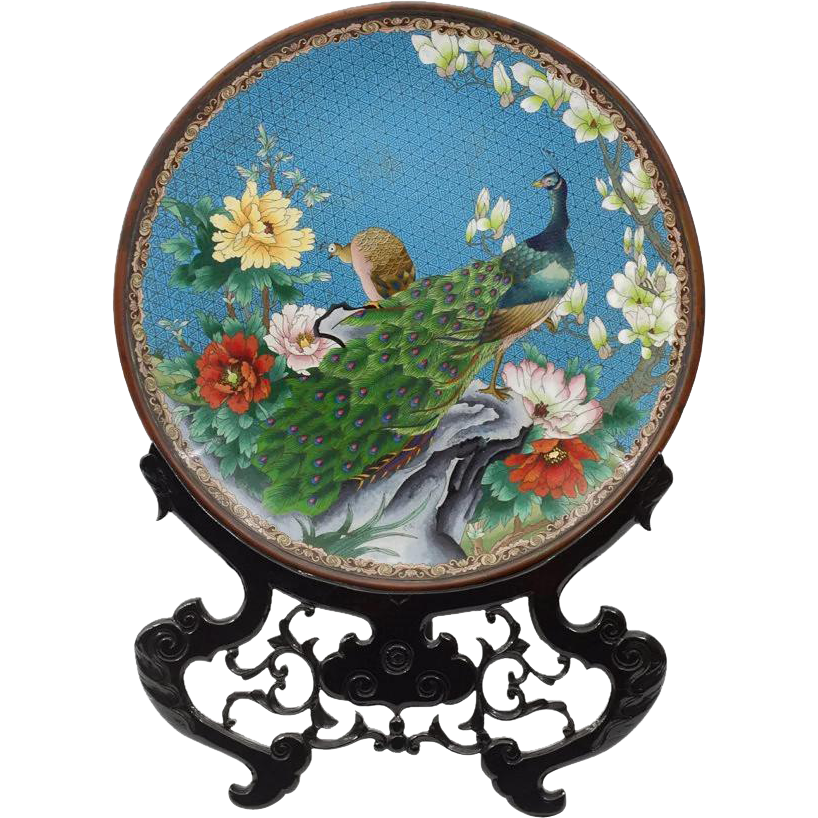 """20 1/2"""" Massive Cloisonné Charger with Ornate Stand"""