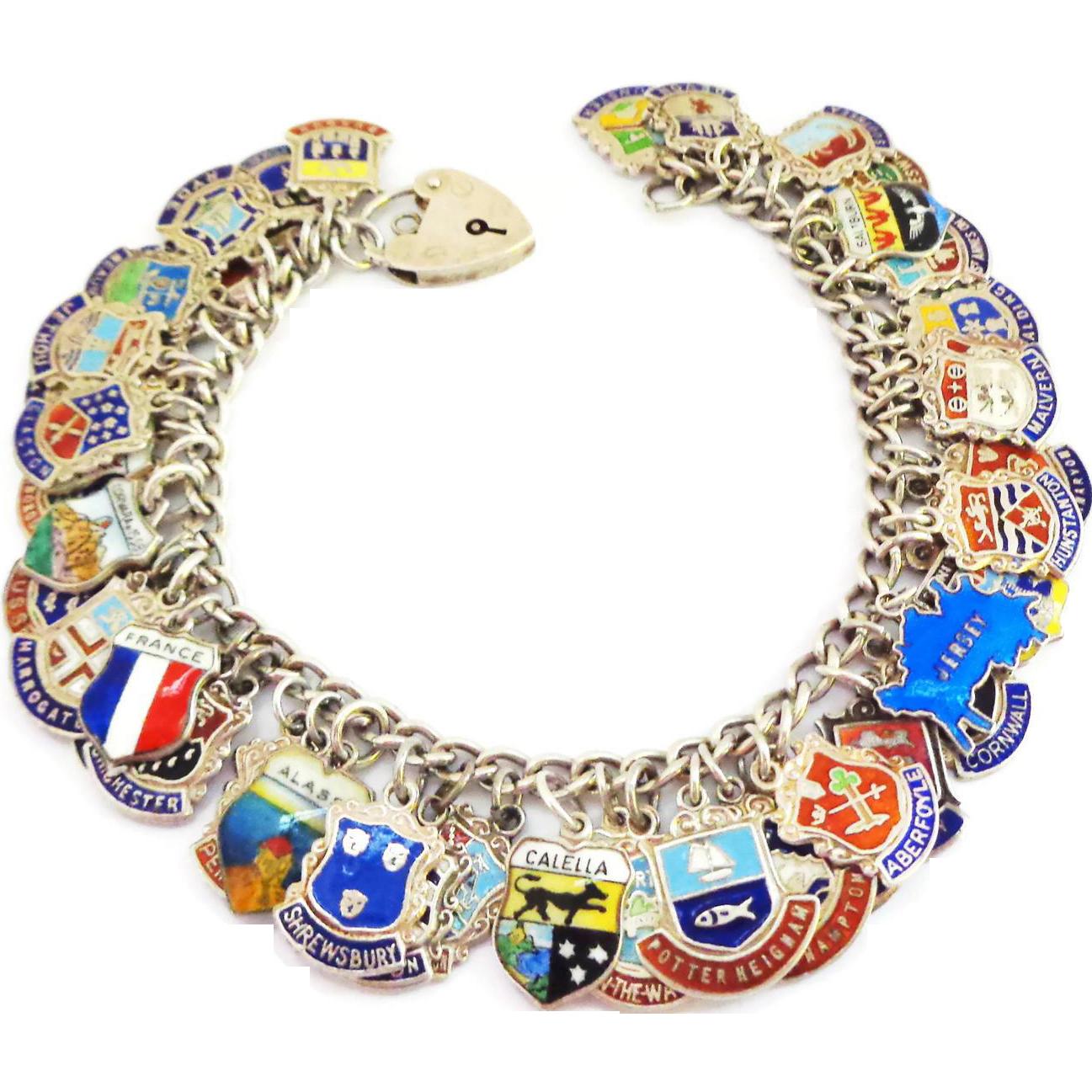 52 Fully Loaded Enamel on Silver Travel Charms on Sterling Silver Bracelet - UK