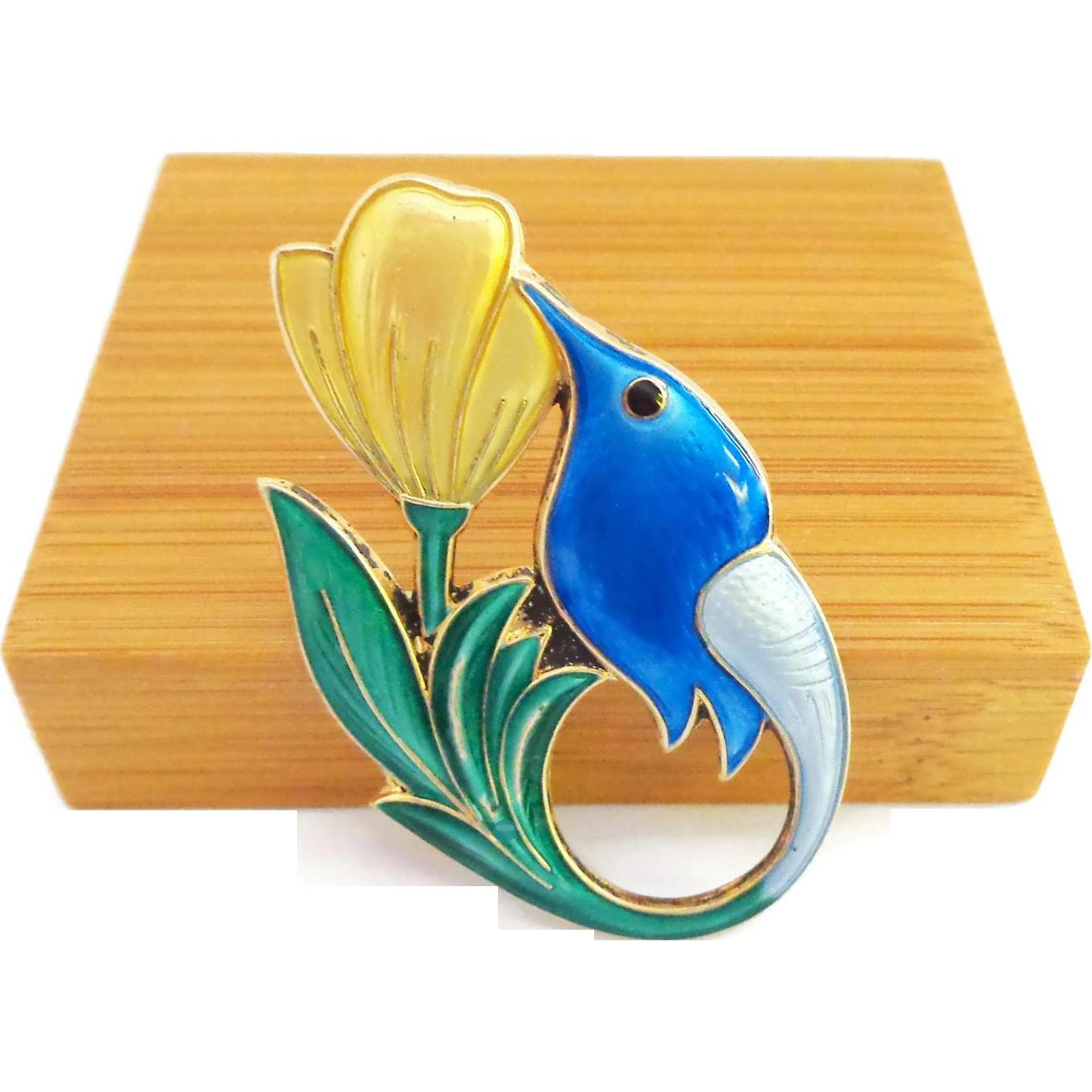 David Andersen Enamel on Sterling HUMMINGBIRD Pin in Blue