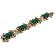Vintage Taxco Mexico Sterling and Green Onyx Bracelet Signed Diaz Santoyo