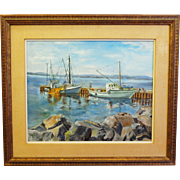 Vintage Oil on Canvas Marine Scene at the Dock Artist Signed