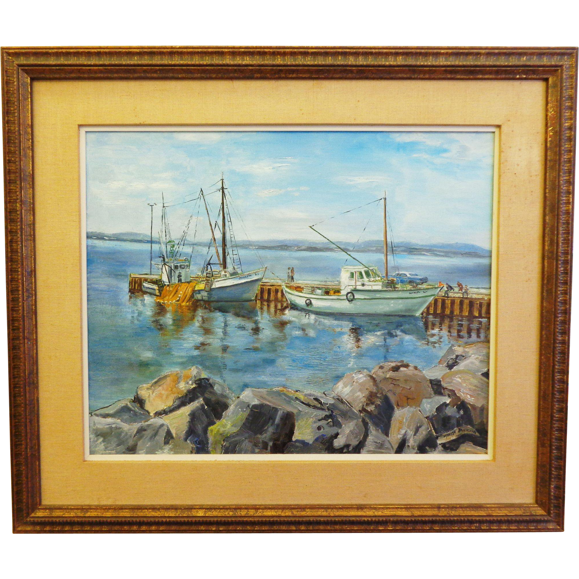 Vintage Oil on Canvas Marine Scene at the Dock Artist Signed