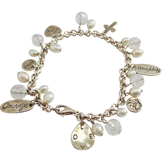 Sterling Silver Charm Bracelet with Love, Faith, Courage, etc. Charms