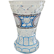 Cut Crystal Pink Blue and Black Vase