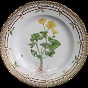 "Royal Copenhagen Flora Danica Caltha palustaris L. 10"" Dinner Plate"
