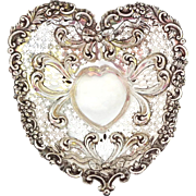 "Antique Gorham Sterling Chantilly Very LARGE 8"" Heart Bowl"