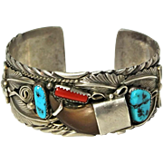 Signed Navajo Native American Bear Claw Turquoise and Coral Bracelet Cuff