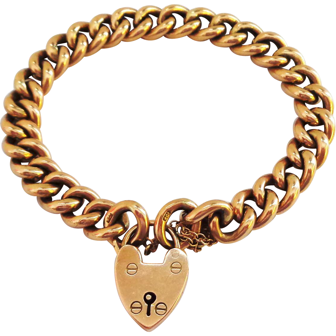 Solid Gold 9K Bracelet with Padlock Clasp