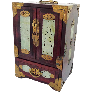 Large Antique Chinese Rosewood and Jade Jewelry Box with Music Box