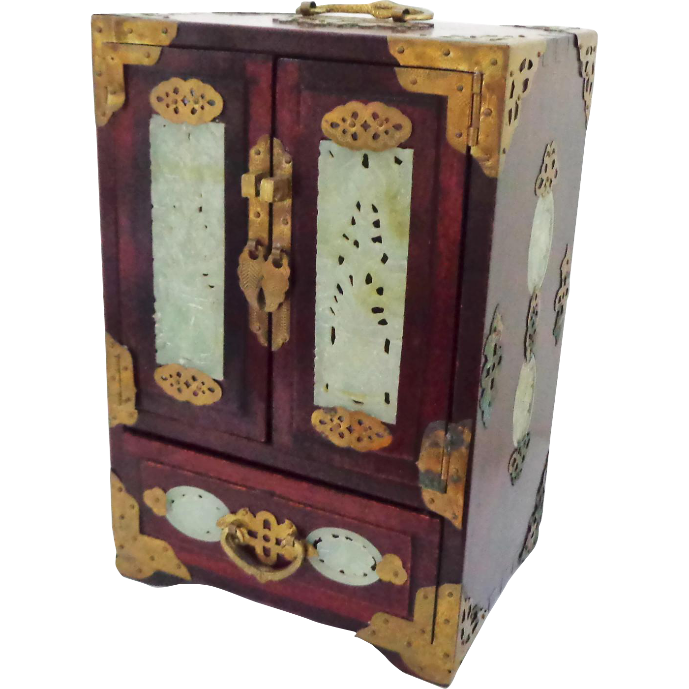 Large Vintage Chinese Rosewood and Jade Jewelry Box with Music Box
