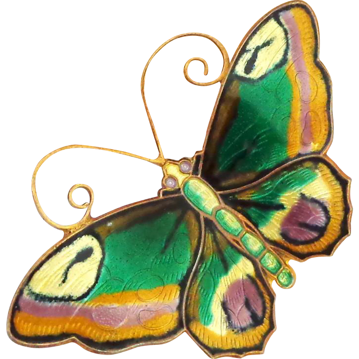 David Andersen Norway Large Multi-color Sterling and Enamel Butterfly Pin with a Touch of Lavender!