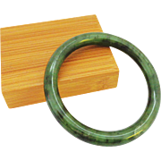 Fine Quality Inky Deep Green Jade Bangle Bracelet
