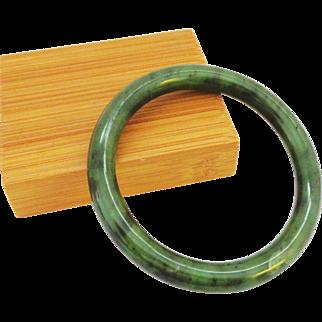 Fine Quality Inky Deep Green Jade Bangle Bracelet