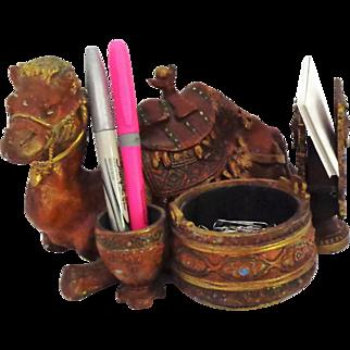 Rare Tobacciana Egyptian Revival Figural Camel Desk Smoke Set