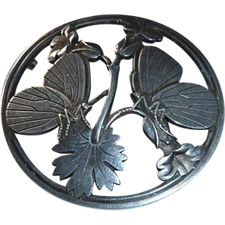 Classic Georg Jensen Sterling Silver Butterfly Pin with Butterflies