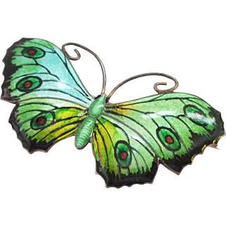 John Atkins & Sons Iridescent Multi-Color Enamel on Sterling Silver Butterfly Pin