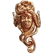 14K Art Nouveau Lady's Face Ring Sz 7 3/4