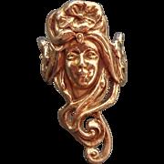 14K Art Nouveau Lady's Face Ring Sz 7 3/4