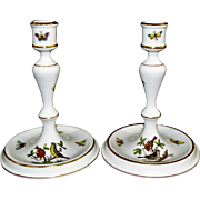 "Herend 7 1/4"" Rothschild Bird Candlesticks"