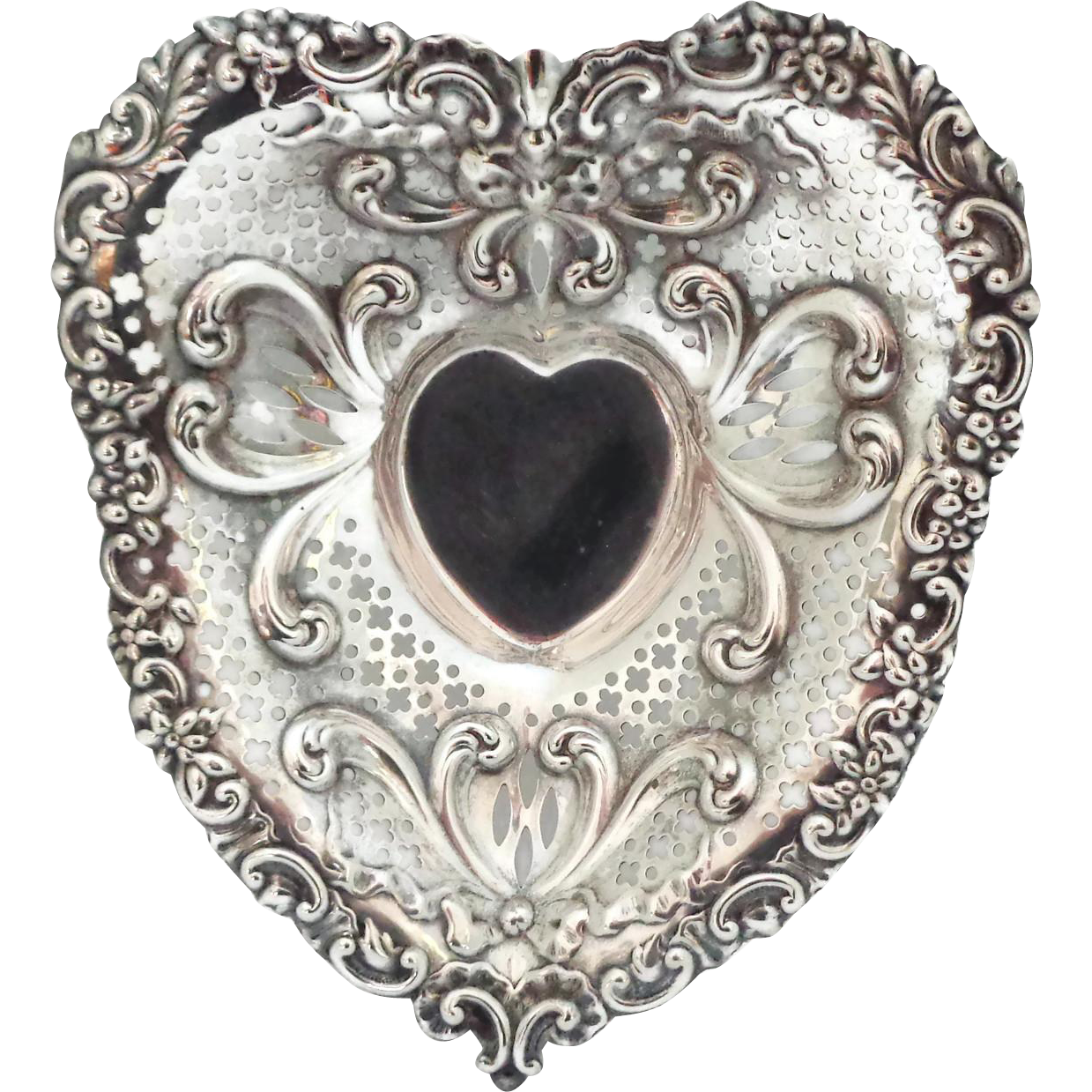 "9 3/4"" Gorham Sterling Silver Chantilly Heart"