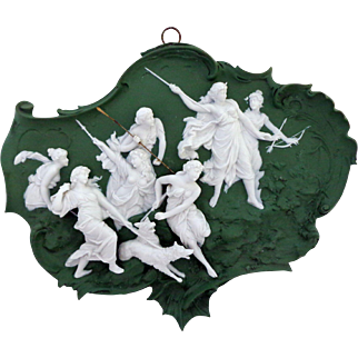 Pristine Volkstedt Jasper Ware Jasperware Plaque with 9 Very 3 Dimensional Figures Allegorical Scene