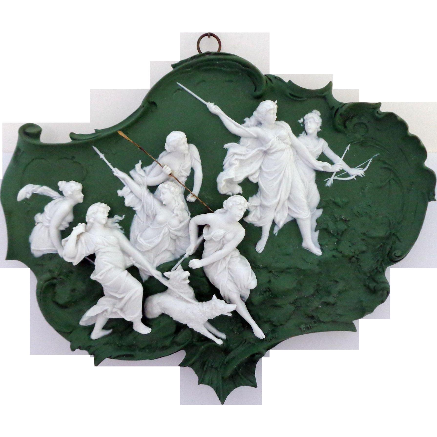 Pristine Volkstedt Jasper Ware Jasperware Plaque with 9 Very 3 Dimensional Figures Allegorical Scene
