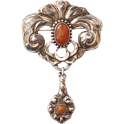 Danish Skonvirke Silver Pin with Amber by Christensen in the style of Georg Jensen
