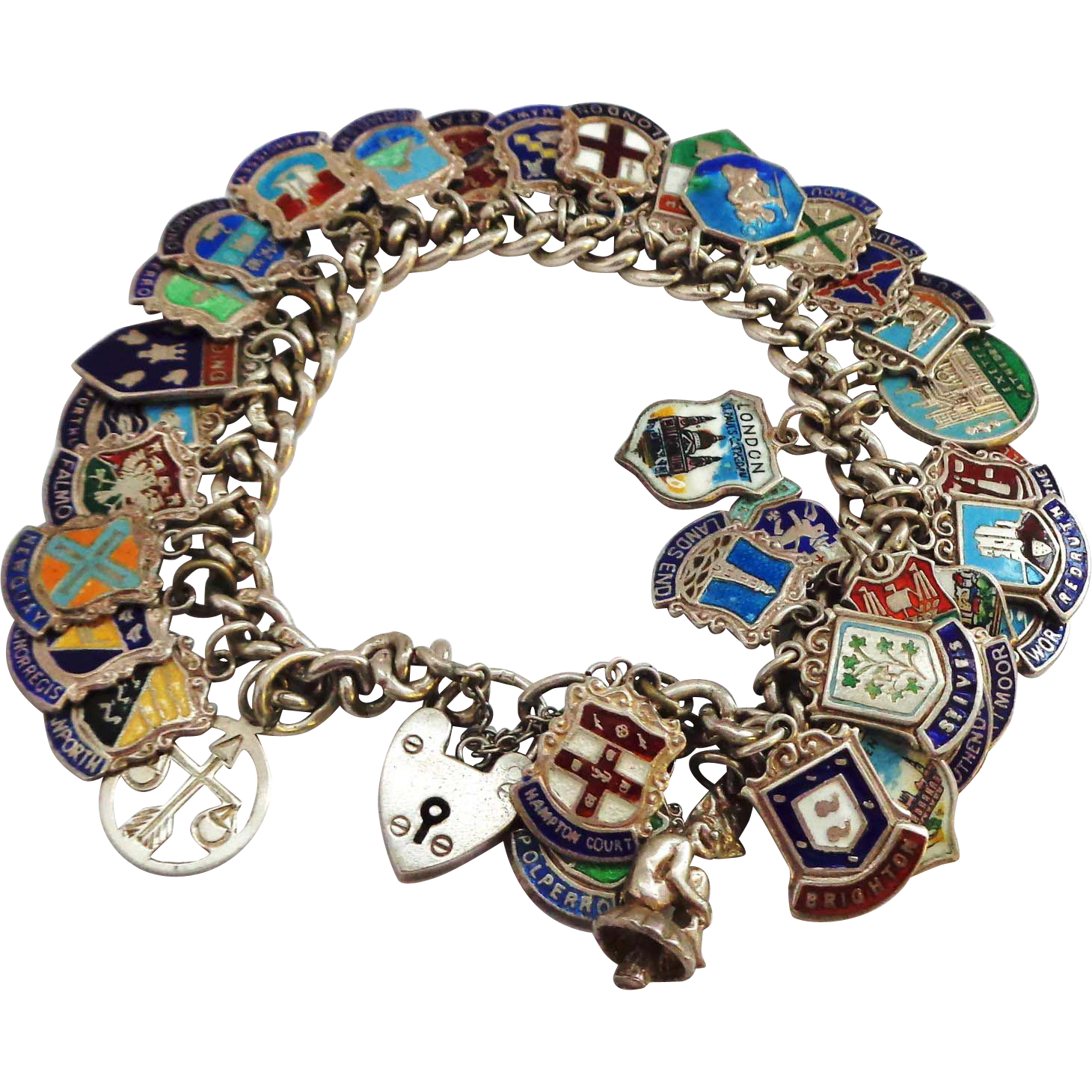 42 Loaded Enamel on Silver Travel Charms on Sterling Silver Bracelet Tour of UK