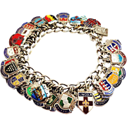 48 Loaded Enamel on Silver Travel Charms on Sterling Silver Bracelet