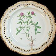 "Royal Copenhagen Flora Danica Round Pierced 13"" Platter Trifolium Pratense or Red Clover"