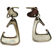 Ed Wiener Signed Classic Modernist Earrings in Sterling Silver