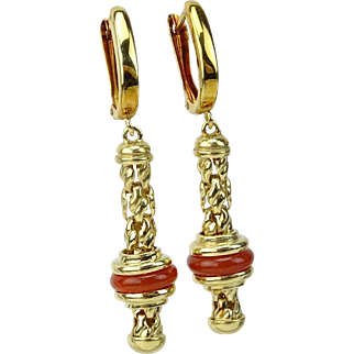 14K Gold and Coral Drop Earrings