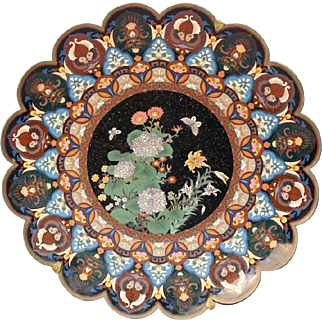 "22"" Cloisonne Charger with Butterflies - Fantastic!"